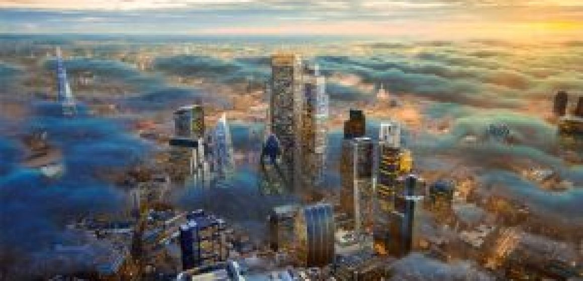 the-city-of-london-of-the-future-above-the-clouds-picture-id1128905461
